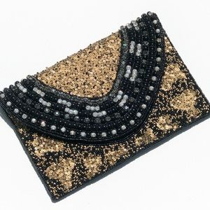 T&J Designs Bags - Black Clutch With 18KGP Base Metals